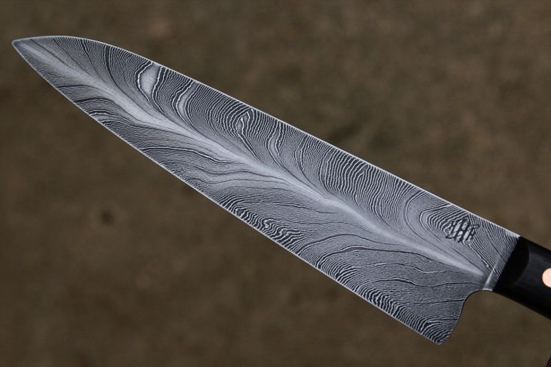 Feather damascus Kitchen Knife. Purty. | Damascus kitchen ...