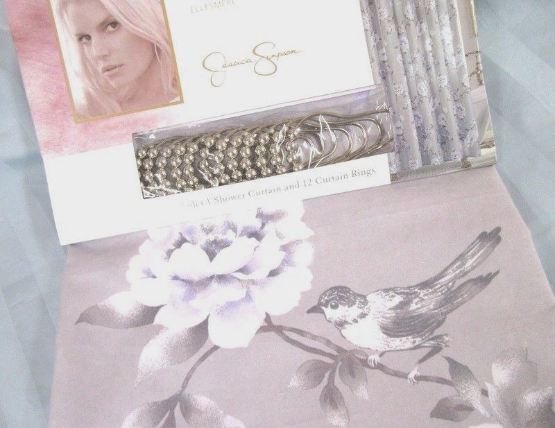 Jessica Simpson Shower Curtain Ellesmere Silver Rings 72x72