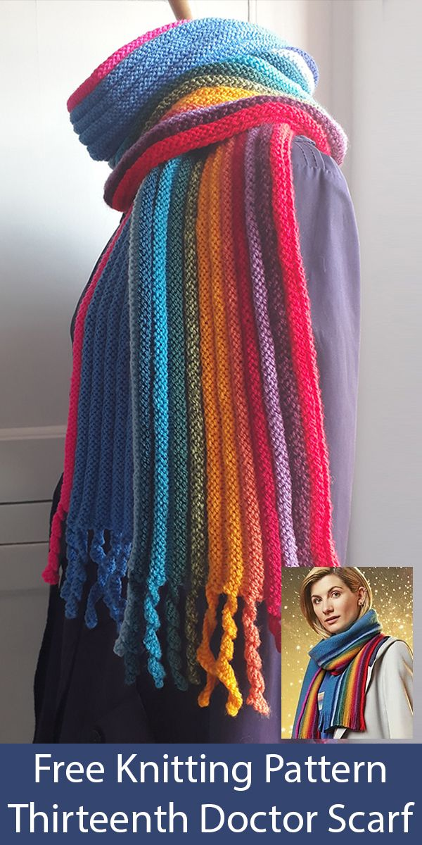 Photo of Free Knitting Pattern for Thirteenth Doctor Scarf inspired by Doctor Who
