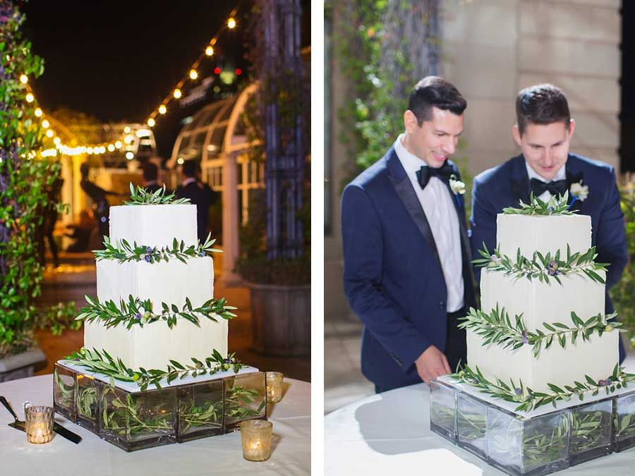 Green And White Wedding Cake For Two Grooms / Gay / LGBT