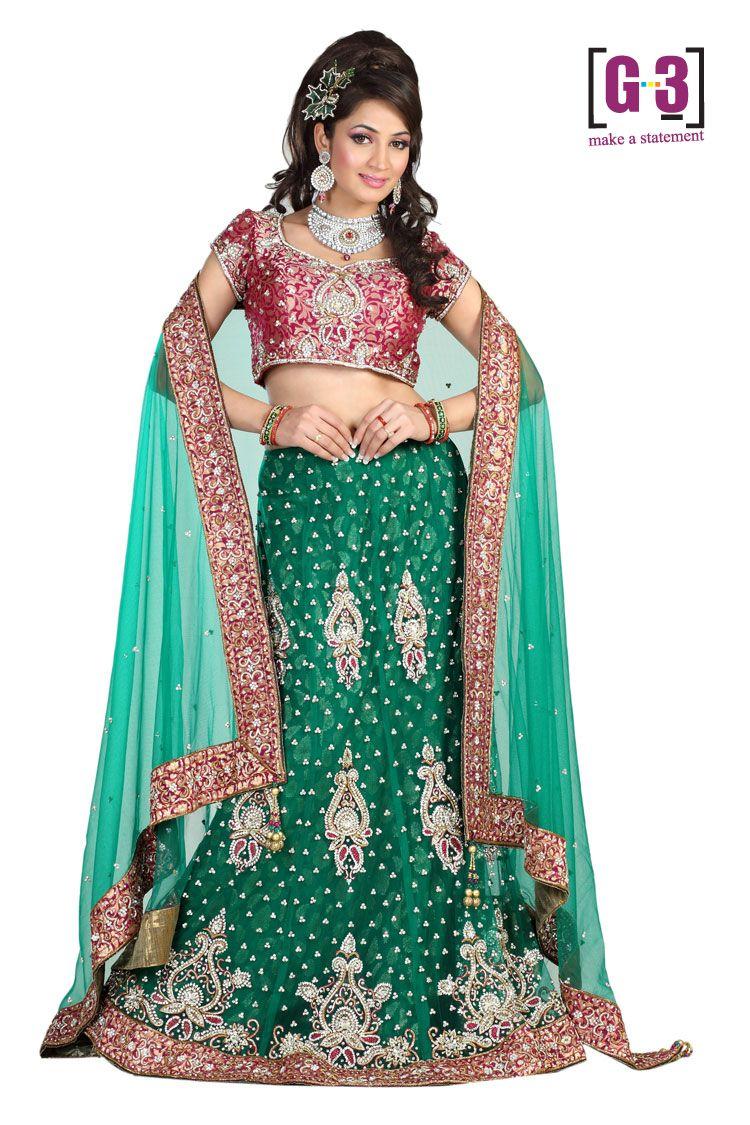 Bridal Chaniya Choli 2011 & 2012 Bushing Teal & Pink $692
