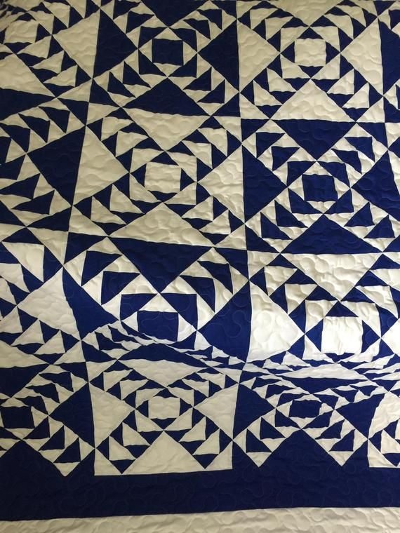 Quilt Wild Goose Chase Royal Blue And White Queen Ready To