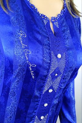 موديل جوهرة ازرق ملكي بالراندة والمهرس مع الشهدة Randa Fashion Design