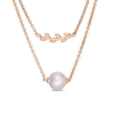 Zales 7.0mm Cultured Freshwater Pearl V Necklace in Sterling Silver with 14K Gold Plate 2beBf