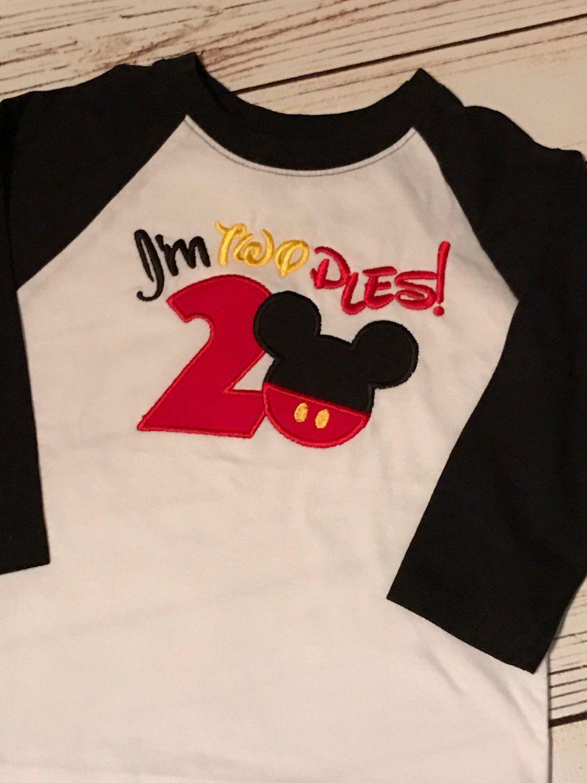 Little boys second birthday mickey raglan shirt boys