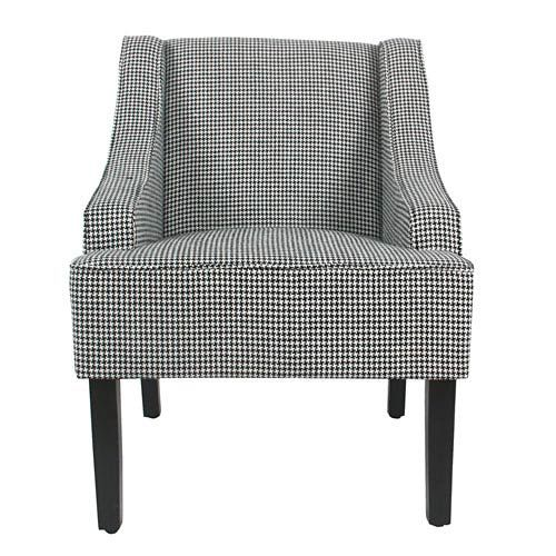 Accent Chair Swoop Wood Siding: Meadow Lane Classic Swoop Accent Chair Ebony Houndstooth