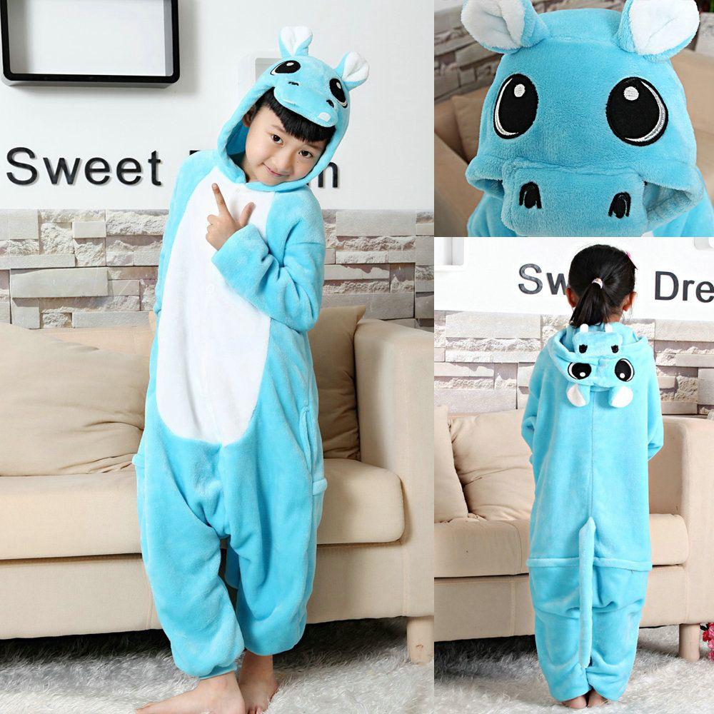 Blue Hippo Kigurumi Pajamas Onesies Kids Animal Warm Hoodie Costume ... 49b81efa93bdf