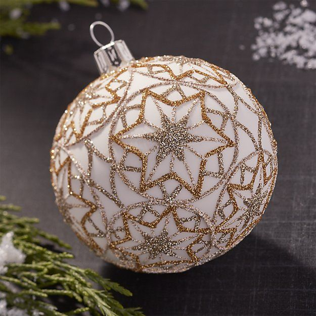 Glitter Starflake Gold Ball Ornament | Crate and Barrel