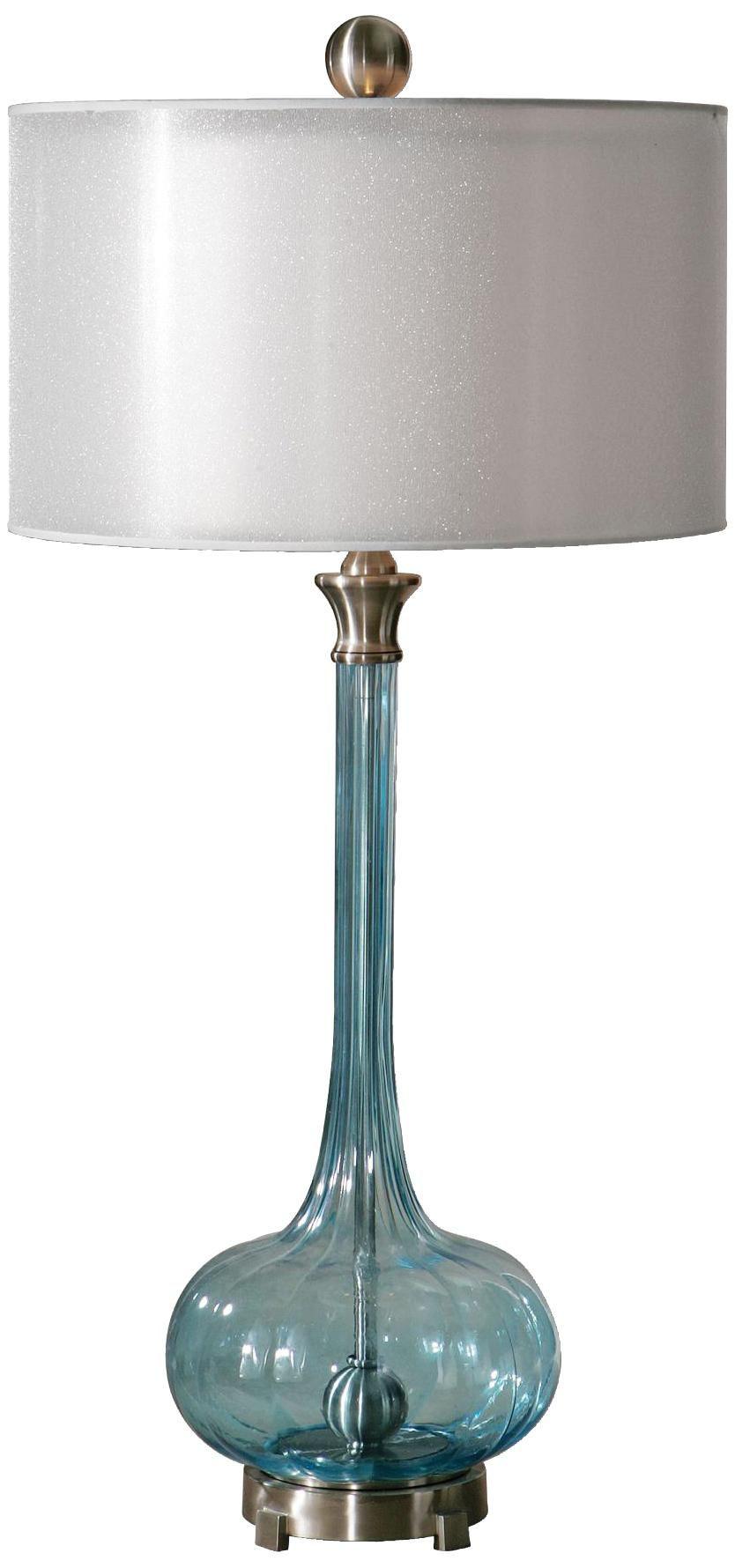 Uttermost Junelle Blue Glass Table Lamp
