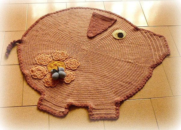 Pig crochet for collector animal rug kids room pig rug for