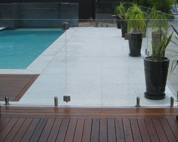 Frameless Pool Fencing Stone Pool Pool Fence Pool Paving