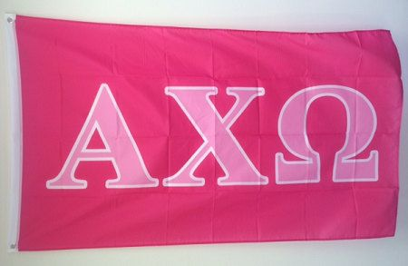 Alpha Chi Omega Dark Pink/Light Pink Letter Sorority Flag 3\u0027 x 5\u0027 on - community service letter