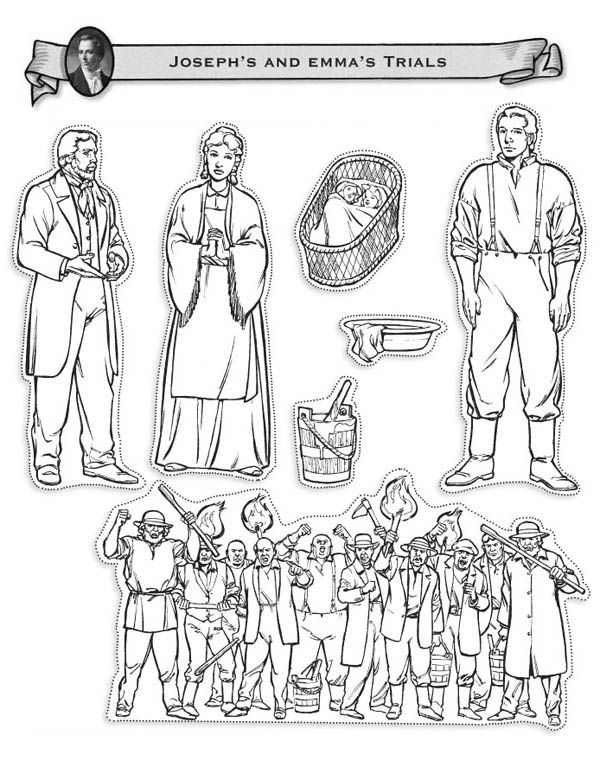 Joseph Smith and Emma Hale Trials Coloring Page FHE Ideas - copy coloring pages of joseph and the angel