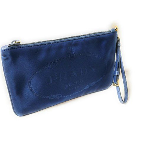 2e08fb6fffd6 $395 - Prada Royal Blue Nylon Jacquard Logo Wristlet Bag for Women 1NH545
