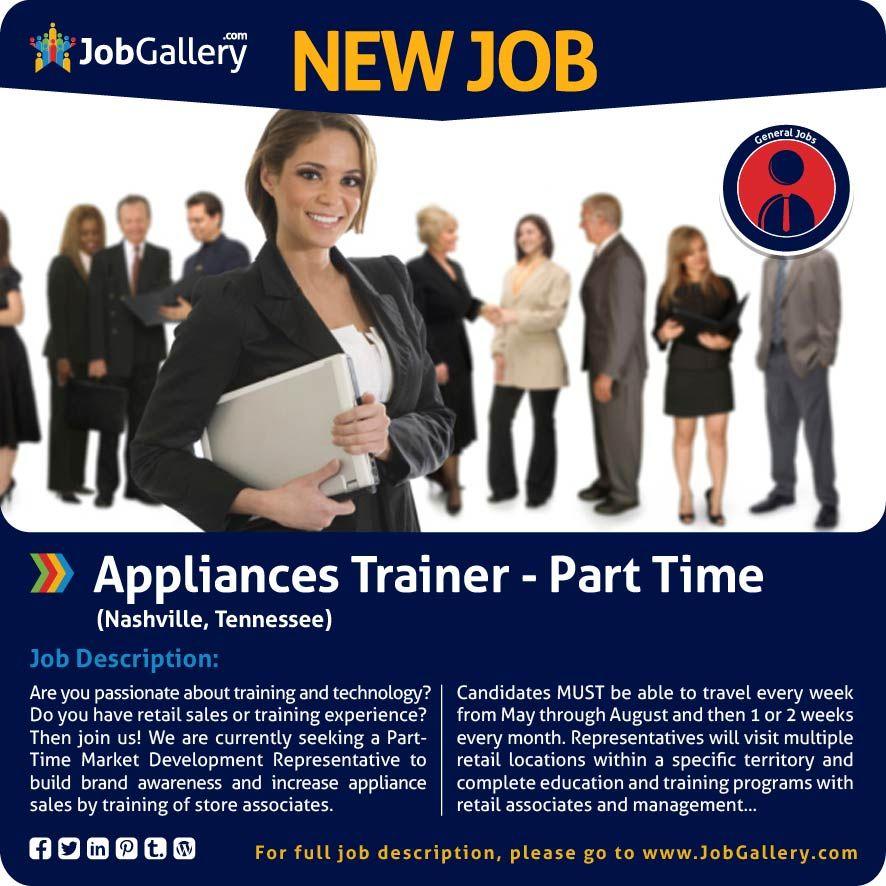 Appliances trainer part time nashville tn job