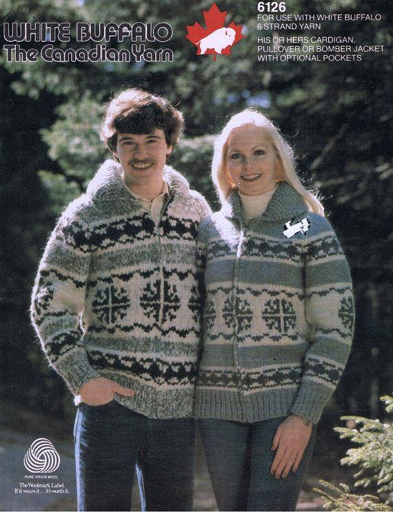 Cowichan Sweater Knitting Pattern White Buffalo Wool Men Womens