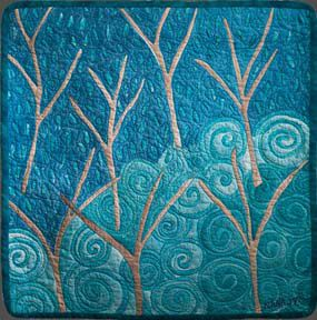 Bare Trees, an art quilt by fabric artist Nana Montgomery 21