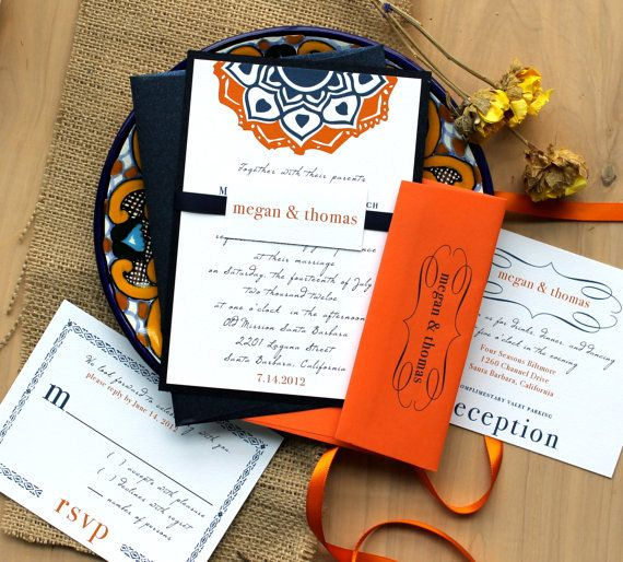 Navajo Navy Rustic Wedding Invitations Orange Southwest As Seen On Style Me Pretty Purchase To Start The Ordering Process
