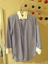 JUNYA WATANABE COLLAR SHIRT 3/4 SLEEVE BLUE WHITE COMME des GARCONS MEDIUM
