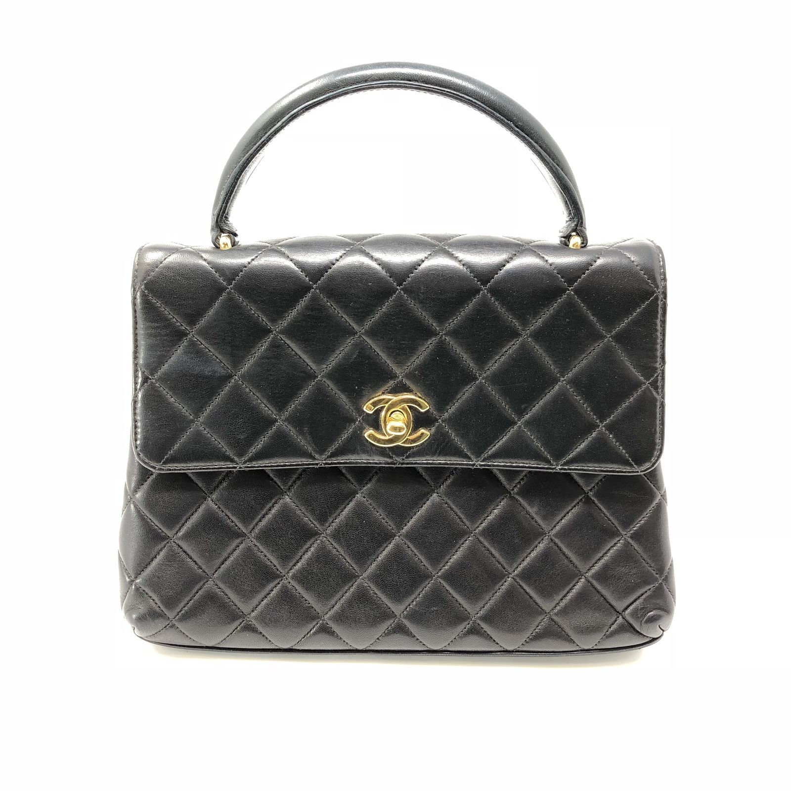 0d676e5f68 Details about Vintage CHANEL Black Gold Quilted Lambskin Medium ...
