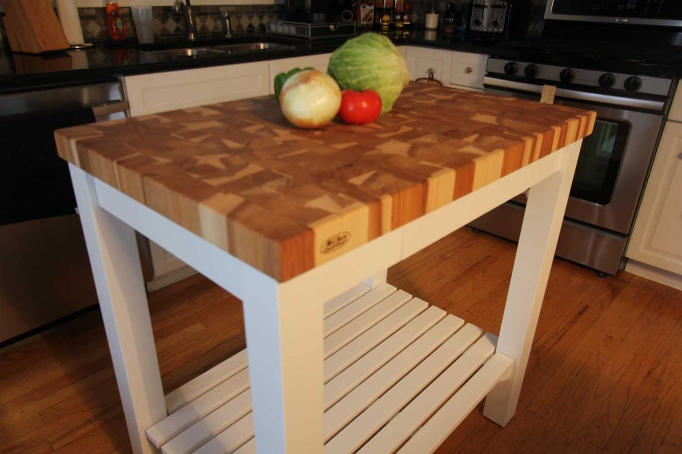Butcher Block Chopping Block End Grain Carts Kitchen Countertops