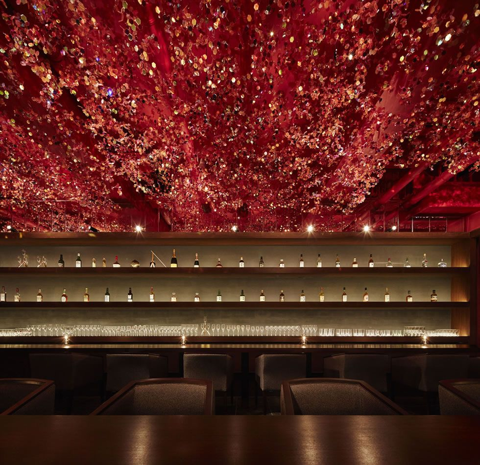 Cherry Blossom Ceiling Inside Ricca Bar Tokyo By Roito Bar Design Restaurant Bar Design Restaurant Bar