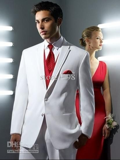Buy cheap Custom Made Size and Color White Suit Red Vest Groom ...