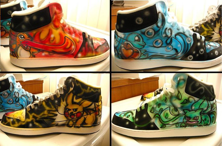 Airbrushed Pokemon Shoes | Bianca's Airbrush Art | Pinterest