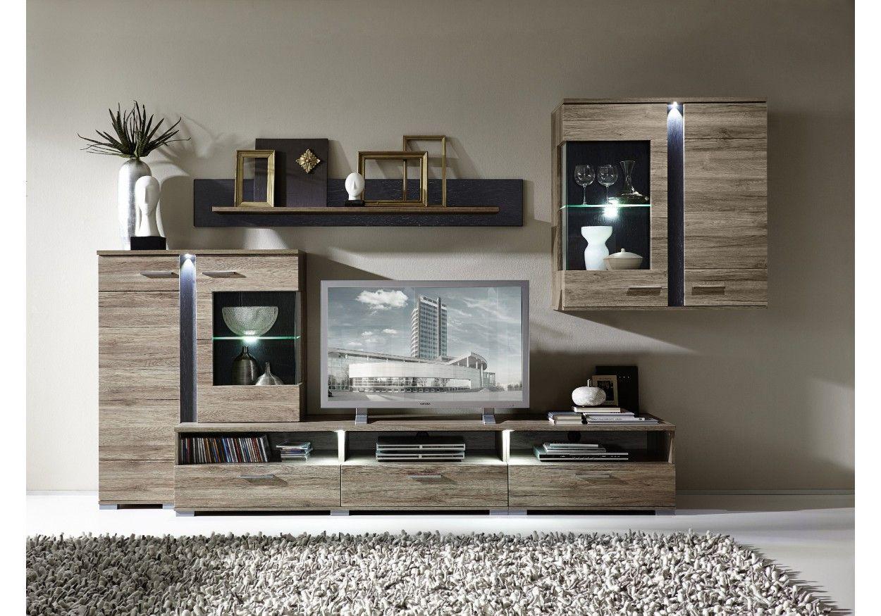 wohnwand mit highboard san remo eiche schiefer woody 22 00502 tank pinterest highboard. Black Bedroom Furniture Sets. Home Design Ideas