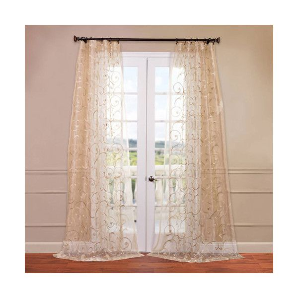 Bella Ivory 50 X 96 Inch Embroidered Sheer Curtain 48 Liked On