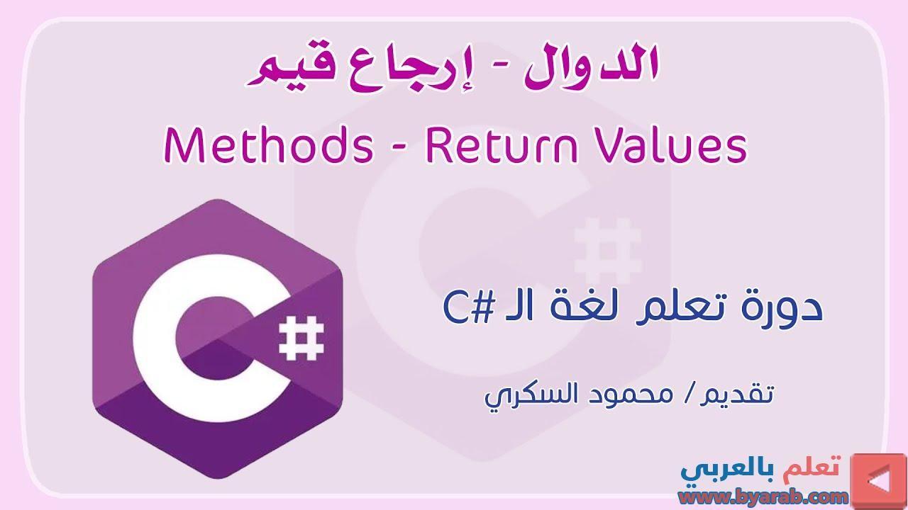027 C Methods Return Value إرجاع القيم في الدوال في لغة السي شارب Letters Gaming Logos Class