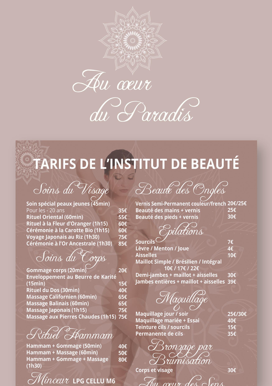 Dépliant, affiche et chèques cadeaux pour Institut de beauté