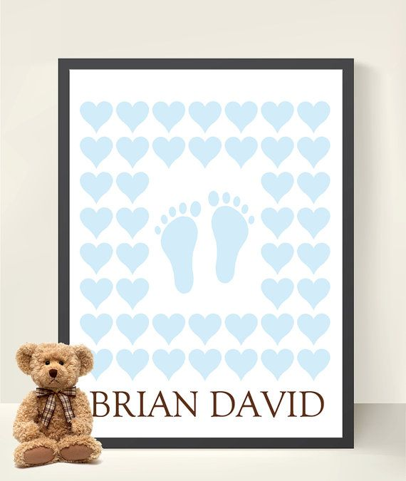 Baby Shower New Baby Boy Footprint Baby Feet Guestbook Hearts