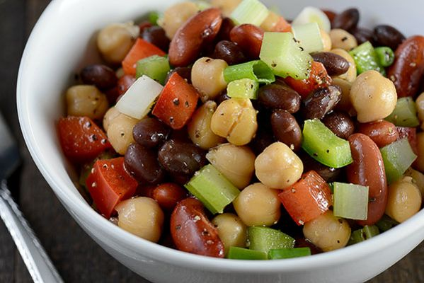 Three Bean Salad Another Great Version Made This The Other Day It Is Easy And Very Very Tasty Whole Food Recipes Salad Inspiration Delicious Salads