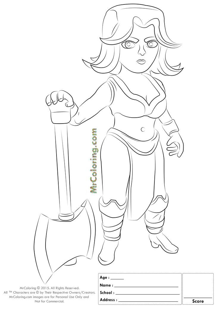 Free Printable Clash Of Clans Valkyrie Coloring Pages 1