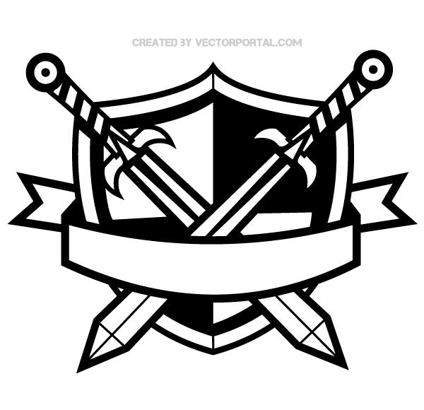 Shield banner. Heraldic with cross swords