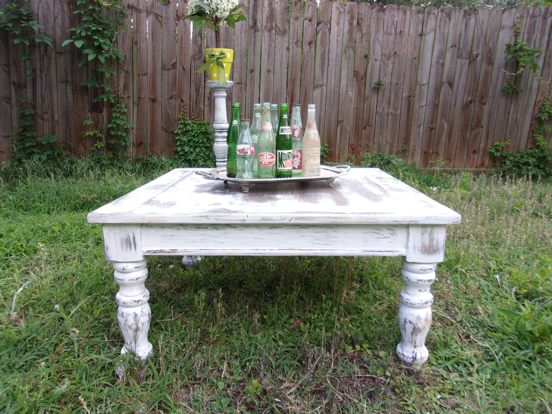 Farmhouse Coffee Table, Square Coffee Table, White Coffee