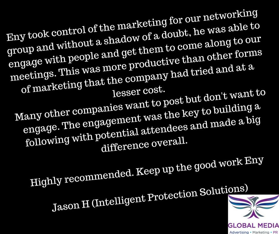 We love Jason's Testimonial for our SocialMedia