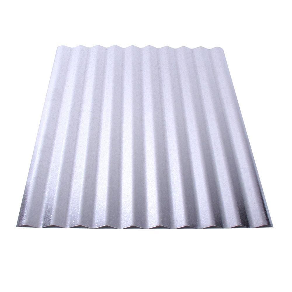Fabral 8 Ft Galvanized Steel Corrugated Roof Panel 4736051000 The Home Depot Corrugated Metal Roof Metal Roof Panels Corrugated Metal Roof Panels