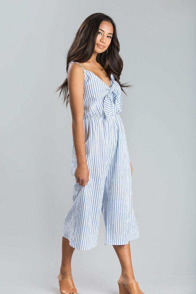bc5a6d3f6db3 Katie Blue Stripe Tie Front Jumpsuit - Morning Lavender