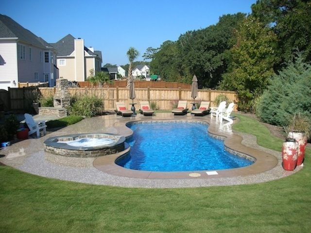 Attractive Fiberglass Pool With Spa, Seashell Grind Concrete Pool Deck By Rock Solid  Custom Concrete U0026 Pools In Wilmington, NC | Our Fiberglass Pools |  Pinterest ...