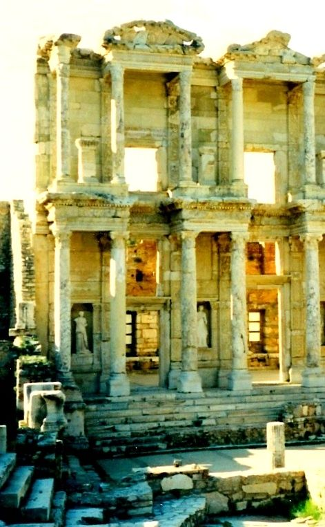 the magnificent of the architecture of the library at Ephesus and the sculpture in its niches - Turkey