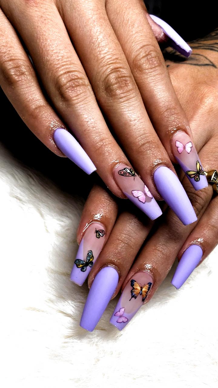 Nail Salon Near Me Nab Nail Bar Butterfly Nails Book Now Nails In 2020 Purple Acrylic Nails Gel Nails Purple Nails