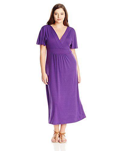 00700fa1b5c Star Vixen Womens PlusSize Flutter Sleeve Surplice Maxi Dress Purple ...