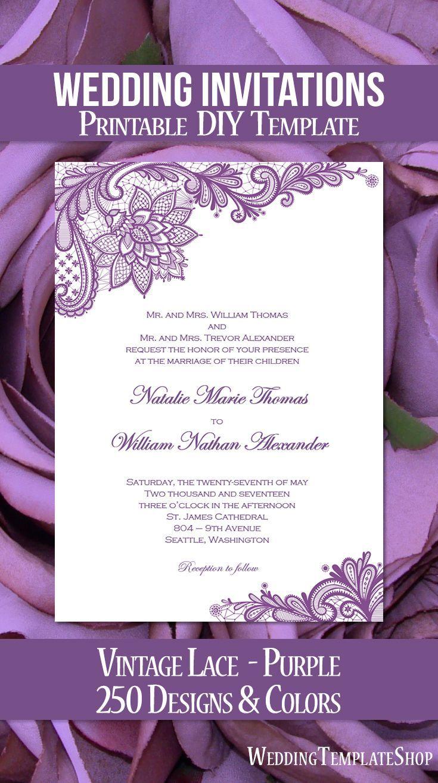 Vintage Lace Wedding Invitation Purple | Vintage lace, Vintage lace ...