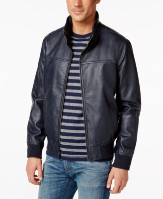 TOMMY HILFIGER Tommy Hilfiger Faux-Leather Stand-Collar Bomber Jacket. #tommyhilfiger #cloth # coats