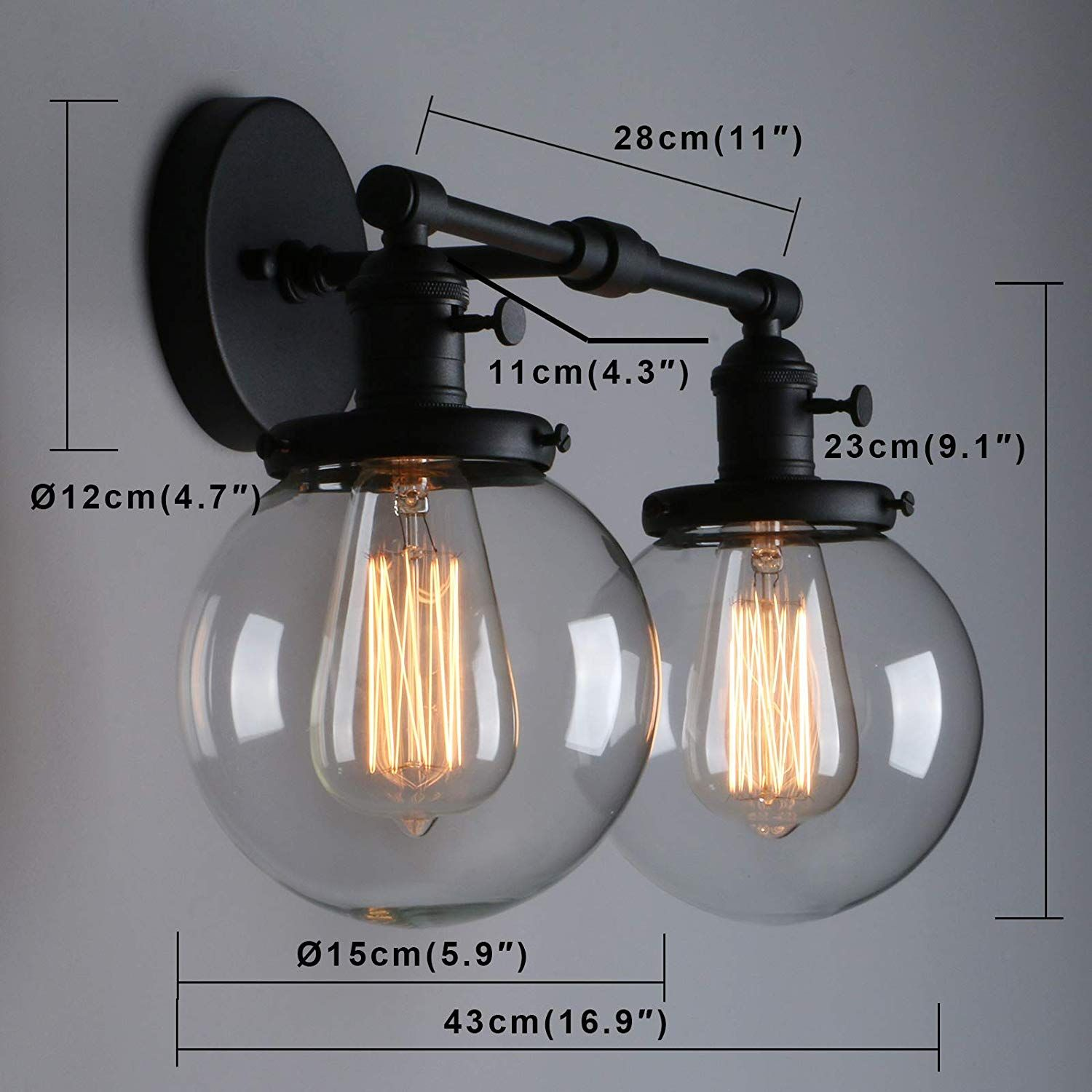 Phansthy Vintage Wall Light Fixtures With Globe Glass Shade 2 Lights Wall Sconces Lighting Switched Indoor Ru Wall Light Fixtures Wall Sconce Lighting