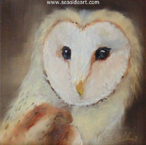 Barn Owl is an original oil painting by Karen Chamblin. The art measures 4″ x 4″ and the frame is 6 1/4″ x 6  1/4″ $210.