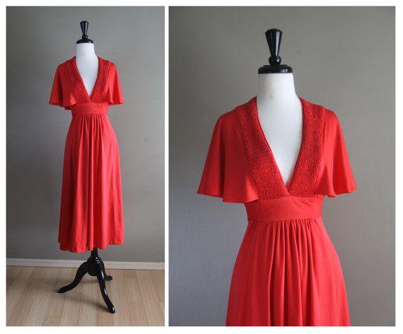 Red Orange 1970s Vintage Flutter Sleeve Dress / Bohemian Hippie 1960s / Mad Men Evening Dress / Pinup Rockabilly