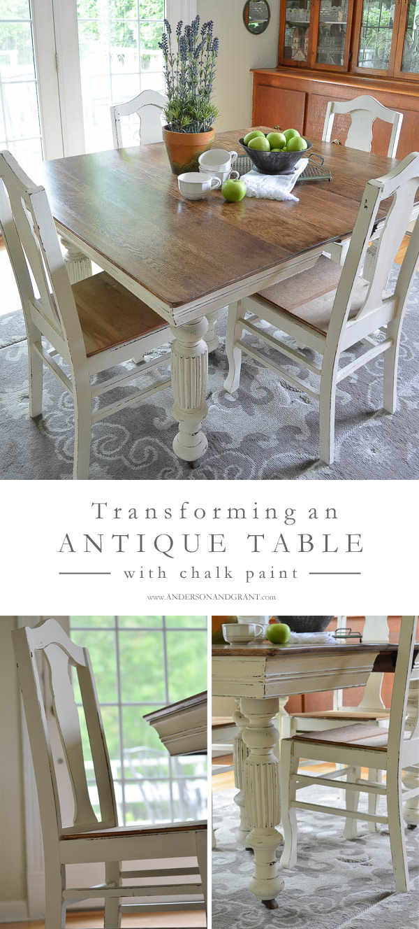 antique kitchen table modern pendant lighting dining updated with chalk paint bloggers best diy transforming an and chairs using white